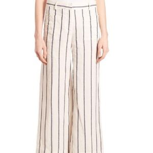 Theory striped wide leg linen ankle pan